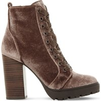 Steve Madden Ladies Brown Modern Laurie Velvet Heeled Ankle Boots