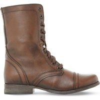 Steve Madden Ladies Brown Distressed Classic Troopa Leather Work Boots