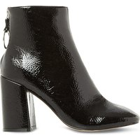 Steve Madden Ladies Black Square Modern Posed Patent-Effect Heeled Ankle Boots