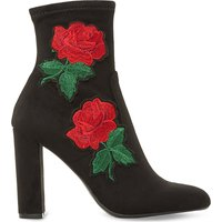 Steve Madden Ladies Black Embroidered Classic Edition Heeled Ankle Boots