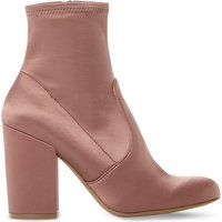 Steve Madden Ladies Pink Cropped Modern Gaze Stretch-Satin Heeled Ankle Boots