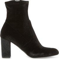 Avenue velvet heeled ankle boots