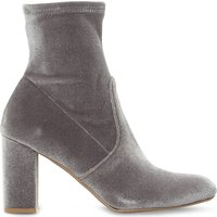 Steve Madden Ladies Grey Cropped Classic Avenue Velvet Heeled Ankle Boots