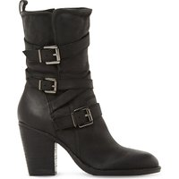 Steve Madden Ladies Black Contrast Practical Wen Leather Buckle Boots