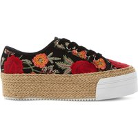 Steve Madden Janella embroidered espadrille flatforms, Women's, Size: EUR 37 / 4 UK WOMEN, Multi-fabric