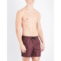 Burgundy swimming trunks with floral pri