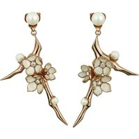 SHAUN LEANE | Shaun Leane Cherry Blossom rose-gold vermeil, ivory enamel, pearl and diamond branch earrings large | Goxip