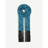 Butterfly Palms silk-twill scarf