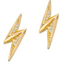 Mini lightning bolt 18ct yellow gold-plated stud earrings
