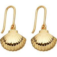 Biography 18ct yellow-gold shell drop earrings