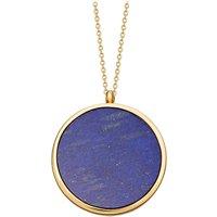 Large Lapis Slice Stilla 18ct yellow-gold vermeil locket necklace