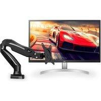 Monitor LG LED 27´ Widescreen UHD 4K, HDR, IPS, HDMI/Display Port, Ajuste de Inclinação, Branco - 27UL500-W + Suporte para Monitor ELG 17´ a 27´