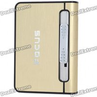 Focus Gold Wiredrawing Cigarette Case Dispenser with Butane Jet Torch Lighter (Holds 12)