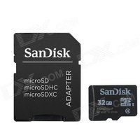 Genuine SanDisk Micro SDHC TF Card with SD Adapter - Black (32GB)