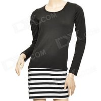 lady-temperament-slim-striped-long-sleeve-dress-black-white-size-m