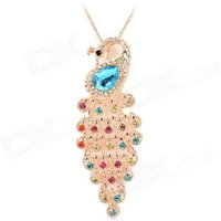 rhinestone-peacock-style-alloy-plating-necklace-colorful