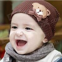 little-bear-bow-pattern-cotton-toddler-hat-coffee