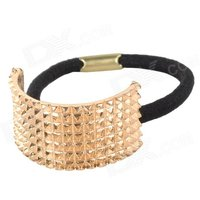 zinc-alloy-semi-circle-elastic-band-hair-tie-golden-black