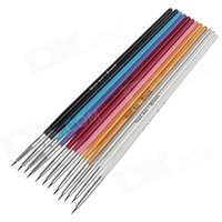12pcs-professional-nail-art-fine-head-brushes-multicolor