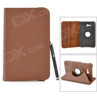 360-degree-rotary-flip-open-pu-case-w-stand-stylus-for-samsung-galaxy-tab-3-lite-t110-brown