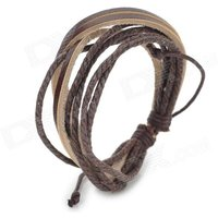 casual-adjustable-woven-cow-leather-cord-bracelet-dark-brown