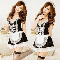women-fashionable-sexy-maid-style-net-yarn-sleep-dress-black-white