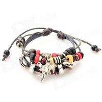 fashion-cupid-ornament-split-leather-bracelet-coffee-brown-multi-color