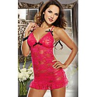 backless-lace-mini-dress-style-sexy-lingerie-deep-pink