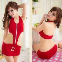 sexy-halter-hollow-siamese-nightdress-underwear-red-white