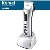 kemei-km-1201-portable-rechargeable-hair-trimmer-clipper-w-lcd-display-grey-black