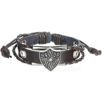 unisex-fashion-genuine-leather-beaded-bracelet-brown-silver