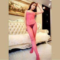 transparent-jacquard-tight-sexy-one-pieces-mesh-lingerie-dark-pink