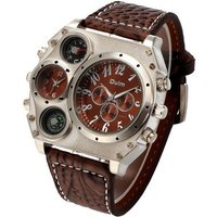 oulm-men-dual-time-zone-compass-thermometer-decoration-watch-brown