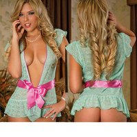 europe-america-style-lace-bowknot-sexy-pajamas-top-light-green