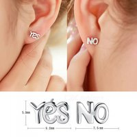 silver-plated-yes-letter-simple-asymmetric-stud-earrings-1-pair