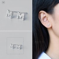 creative-spelling-english-alphabet-m-stud-earring-for-women-silver