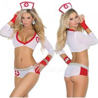 sexy-deep-v-milk-silk-perspective-sleeves-nurse-suit-white-red