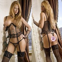 Exposed Breast Lure Lace Funny Sexy Lingerie Suit (Gloves Included)