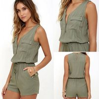 casual-leisure-sleeveless-one-piece-shorts-jumpsuit-army-green-xl