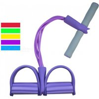 P-top 4-tube Yoga Fitness Resistance Bands, Sit Up Pull Ropes With Latex Pedal Exerciser For Women Men - Purple
