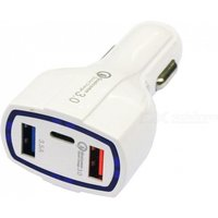 Portable QC3.0 7A Dual USB + Type-C Car Quick Charger