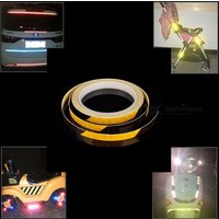 1 X 8cm Mountain Car Accessories Bike Reflective Stickers Safety Equipment Bicycle Motorcycle Wheel Body Stickers White