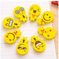 Creative Cartoon Smiley People Style Pencil Eraser Stationery Student Accessories Random Yellow
