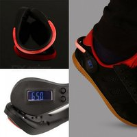New Led Clip-on Clamp Shoe Flashing Light W/ Sports Fitness Pedometer For Runners Cyclists - Black