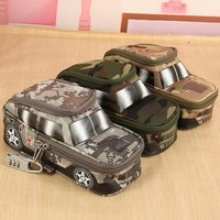 Pencil Case Vehicle Pen Pouch Bag with Combination Lock for Boys Double Zipper Camouflage Canvas Large Cute School Pencil Box Brown