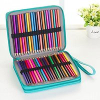 124 Holders Large Capacity Pencil Case for Art Pens Watercolor Colored PU Leather Pencils Bag Box School Stationery Supplies Black