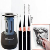 Electric Pencil Sharpener Dual Purpose Multifunction Automatic Art Learning Sketch Pencil Electronic Sharpener White