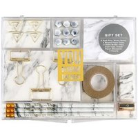 Marble White Stationery Kit for Office Supplies Shopkins Stationery Set Gift with 8 Type Stationery Items Pencils Clips Memo Pad A