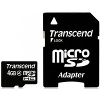 Transcend - Flash memory card ( microSDHC to SD adapter included ) - 4 GB - Class 4 - microSDHC