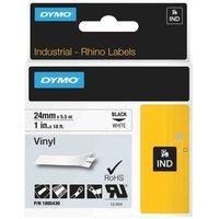 Dymo Black on White Rhino Vinyl Tape 24mm